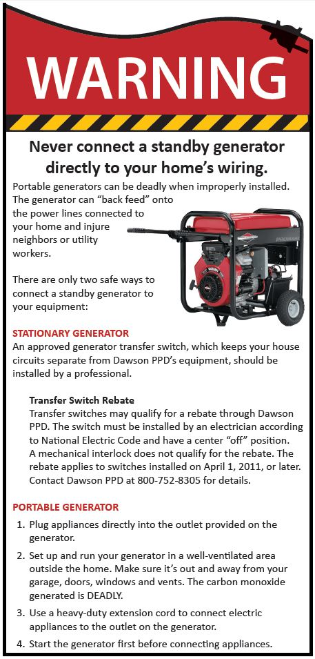 Dawson Public Power District » Portable generator safety