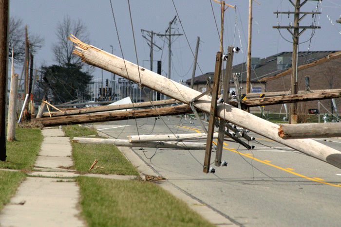 Fallen power lines. Source: Safe Electricity