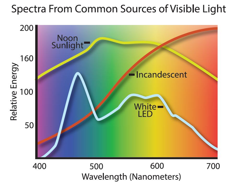Spectra from common sources of visible light. Source: blog.1000bulbs.com.