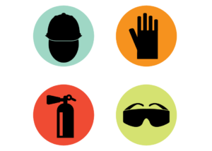 Set of four safety icons. Features a person wearing a hard hat with a blue background, a glove with an orange background, a fire extinguisher with a red background, and safety glasses with a green background.
