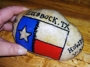 It's not unusual for The Kindness Rocks Project to travel beyond its original community. Through the power of social media, participants are able to keep track of the rocks and how far their positive messages spread. Charlotte Ann Youngblood of North Platte found this rock from Lubbock, Texas, while visiting Cody Park. She chose to retire, or keep, the rock. Photo courtesy Charlotte Ann Youngblood.