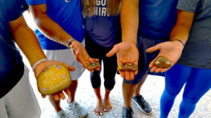 Kearney residents left positive messages on rocks while vacationing in Mexico. The Kindness Rocks Project aims to spread kindness through messages on painted rocks. Photo courtesy Rhonda Davis Johnson.