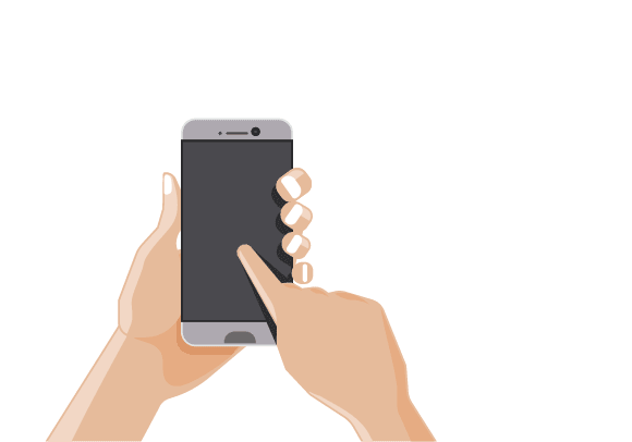 A hand dialing on a mobile phone