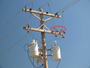 Lightning arrestors with a grounding wire between them on a distribution pole.
