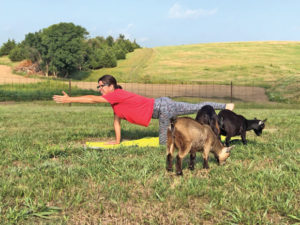 Eustis resident and owner of Gal and Goat, Tracey Kiefer, demonstrates a stretching exercise during her goat yoga session.