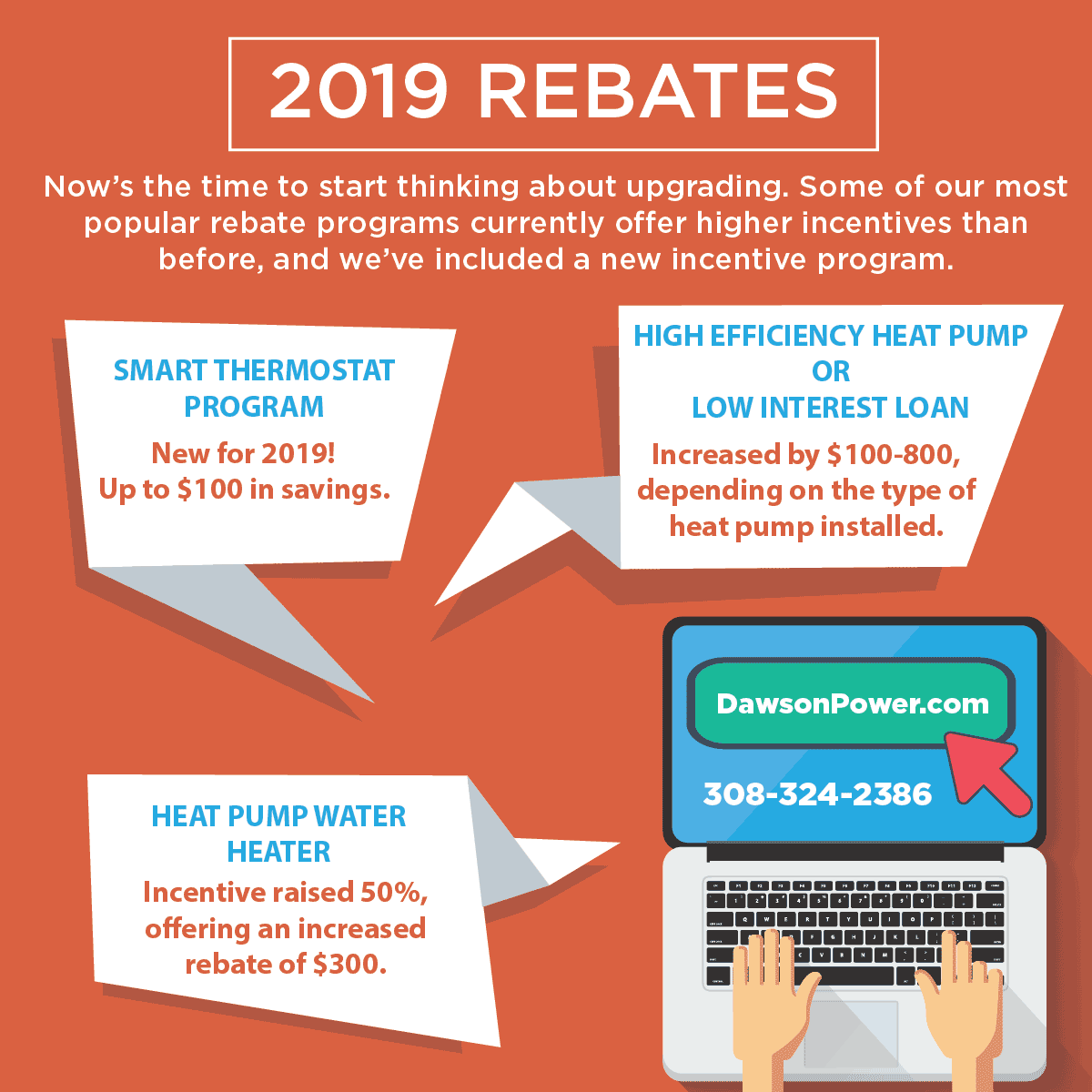 Now's the time to start thinking about upgrading. Some of our most popular rebate programs currently offer higher incentives than before, and we've included a new incentive program. Smart Thermostat Program - New for 2019! Up to $100 in savings. High Efficiency Heat Pump or Low Interest Loan - Increased by $100-800, depending on the type of heat pump installed. Heat Pump Water Heater - Incentive raised 50%, offering an increased rebate of $300.