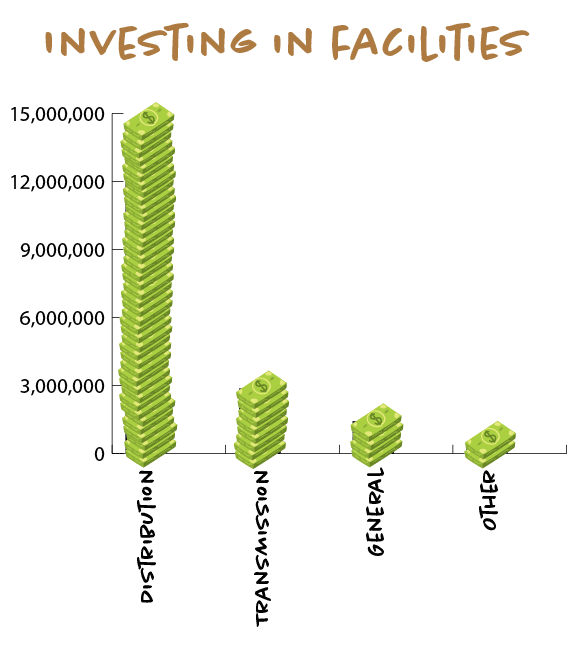 The district invested approximately $19 million back into the facilities during 2018. Our capital purchases are financed with revenues from operations, investment income, financing proceeds and existing cash on hand. About $14.3 million went into distribution, $2.8 million in transmission, $1.4 million was spent on general facilities and about $360,000 was labeled as other.