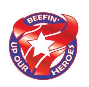 Beefin' Up Our Heroes Logo of bull skull surrounded by letters in a circle.