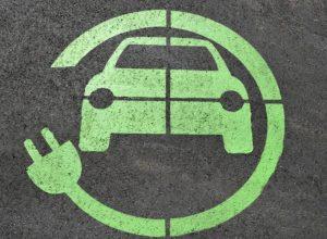 Electric car charging parking symbol